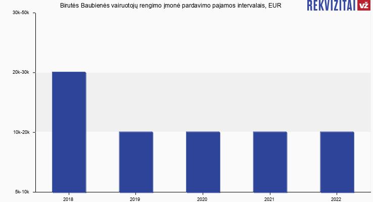 Birutės Baubienės vairuotojų rengimo įmonė pardavimo pajamos, EUR