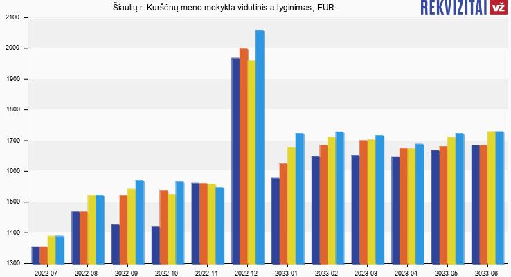 Šiaulių r. Kuršėnų meno mokykla atlyginimas, alga