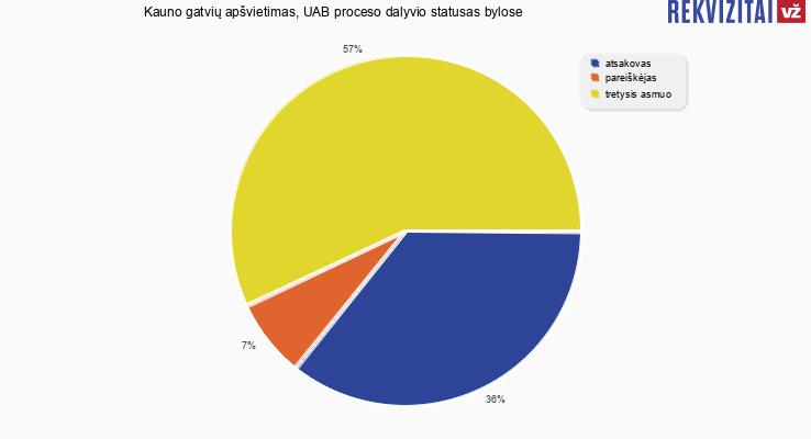 Bylų, kuriose dalyvavo Kauno gatvių apšvietimas, UAB, proceso dalyvio statusai