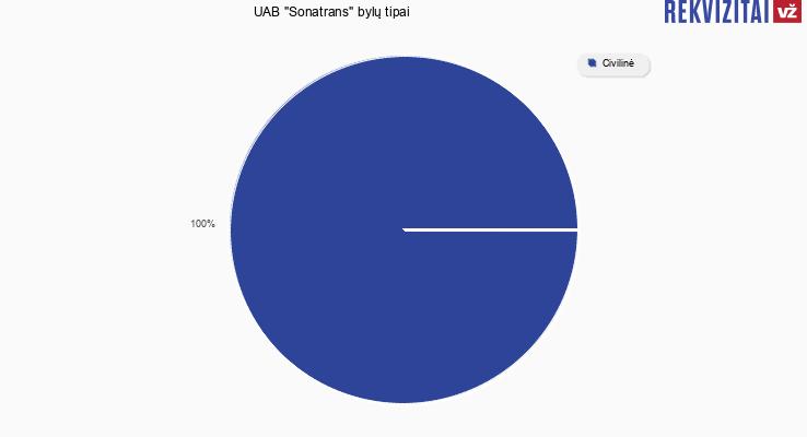 """Bylų, kuriose dalyvavo UAB """"Sonatrans"""", tipai"""