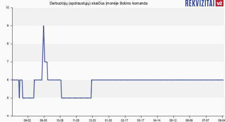 Darbuotojų (apdraustųjų) skaičius įmonėje Bobino komanda