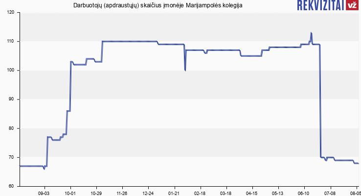 Darbuotojų (apdraustųjų) skaičius įmonėje Marijampolės kolegija