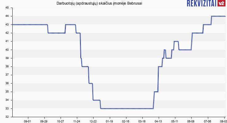 Darbuotojų (apdraustųjų) skaičius įmonėje Bebrusai