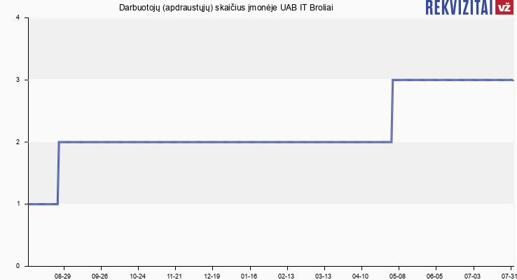 Darbuotojų (apdraustųjų) skaičius įmonėje UAB IT Broliai