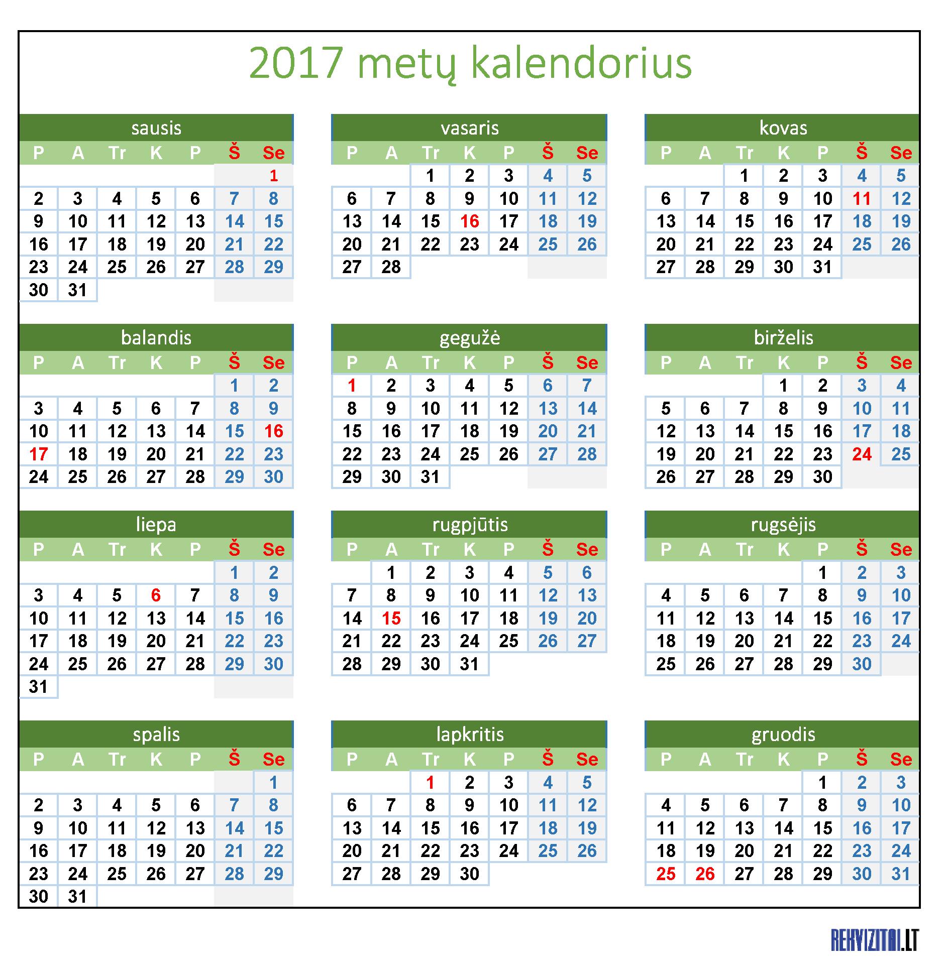 Zydu svenciu kalendorius 2017