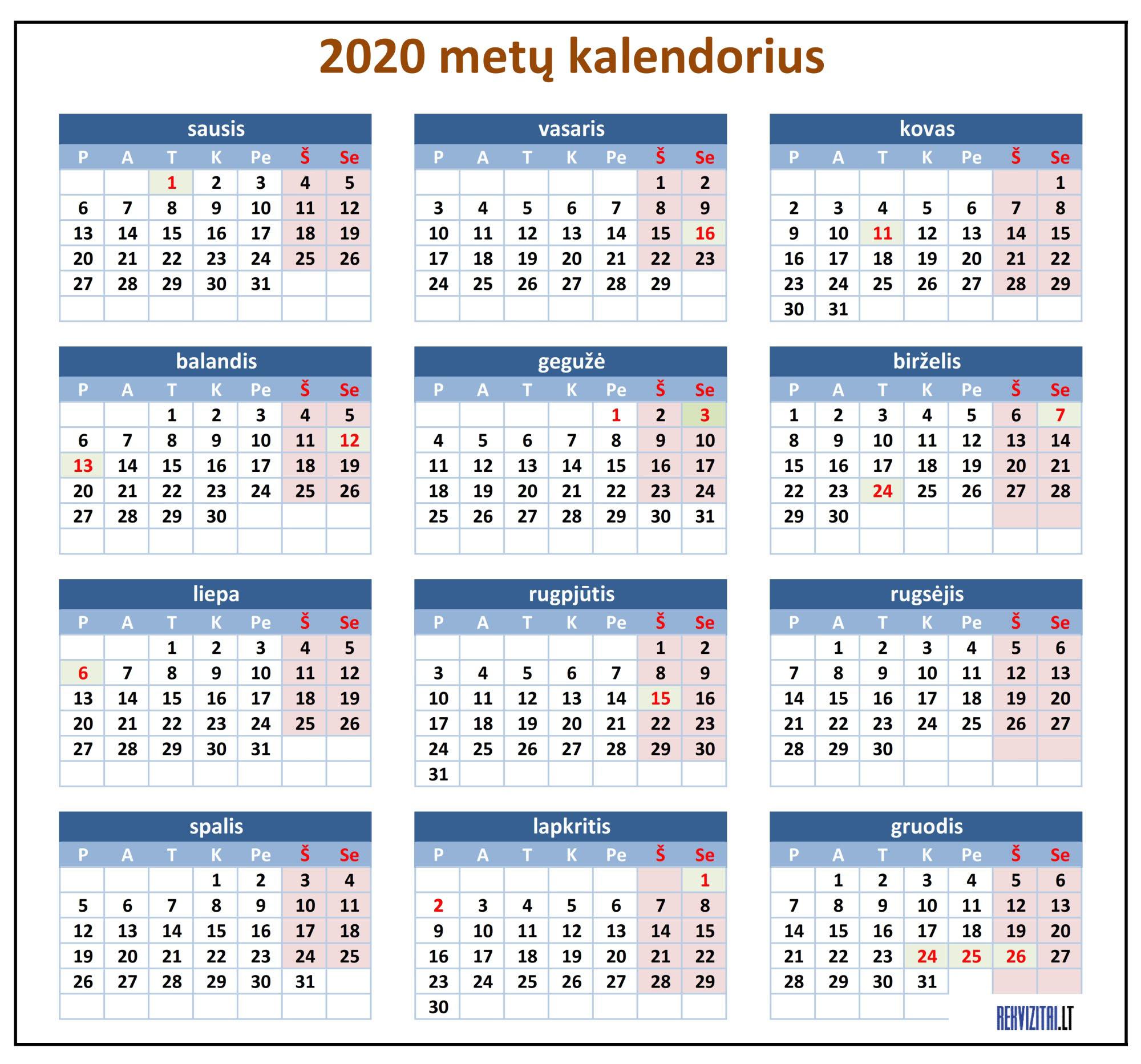 2020 Kalendorius.Kalendorius 2020 Iems Metams Rekvizitai Lt