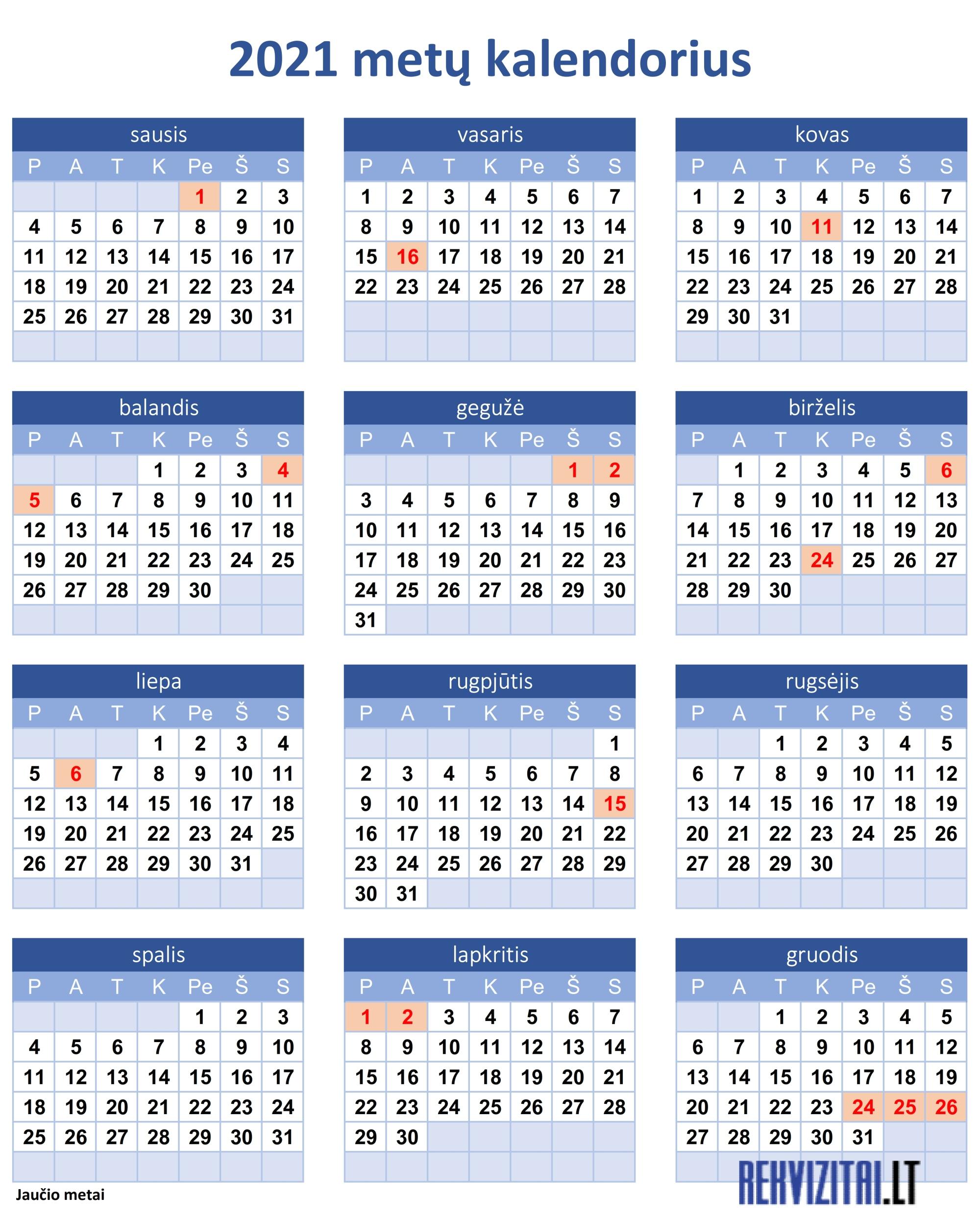 2021 m pasirinkimo sandorių kalendorius