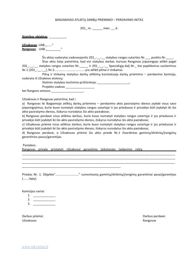Baigiamasis atliktų statybos darbų priėmimo – perdavimo aktas