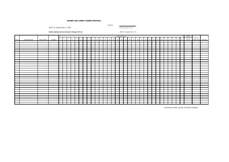 Darbo laiko apskaitos žurnalas, grafikas