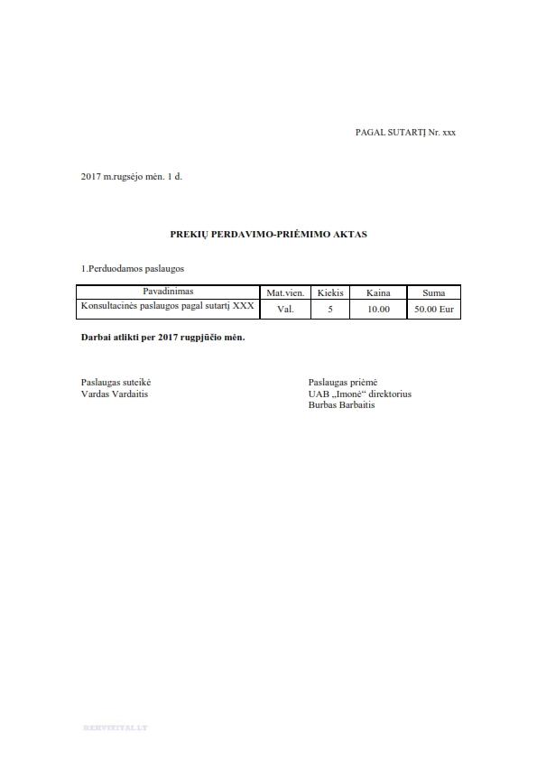 Darbų priėmimo - perdavimo aktas