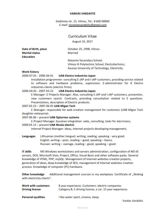 CV Gyvenimo aprašymas angliškai