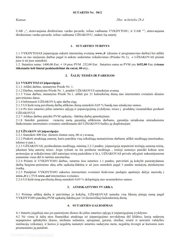 Interneto svetainės sukūrimo sutartis