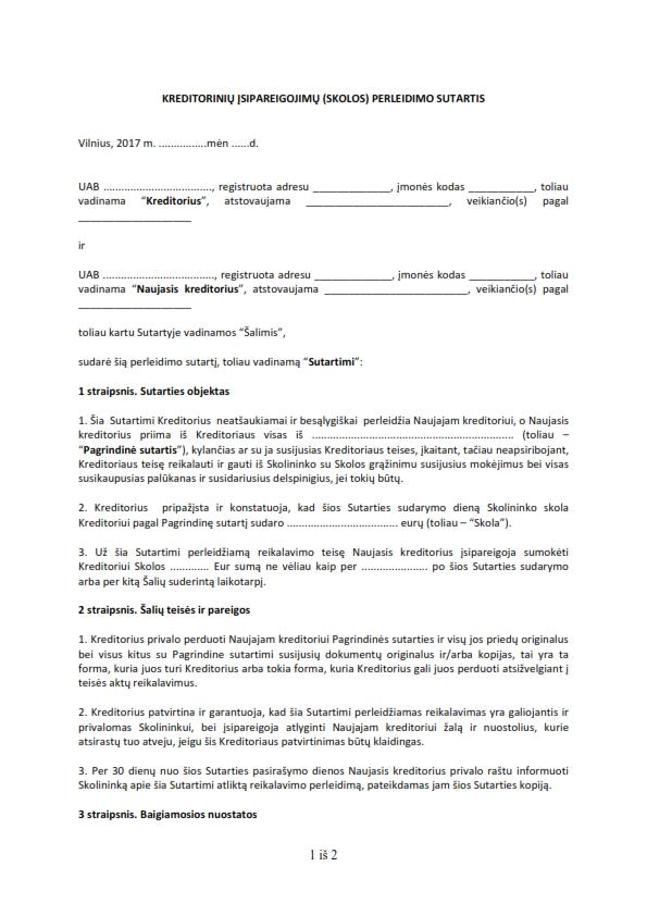 Kreditorinių įsipareigojimų (skolos) perleidimo (pardavimo) sutartis