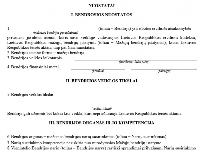 Mažosios bendrijos (MB) steigimo dokumentai