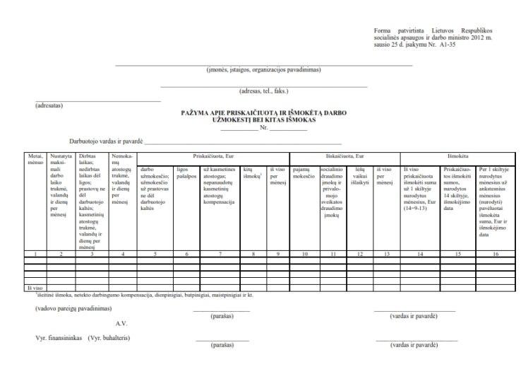 Pažyma apie išmokėtą darbo užmokestį (atlyginimą)