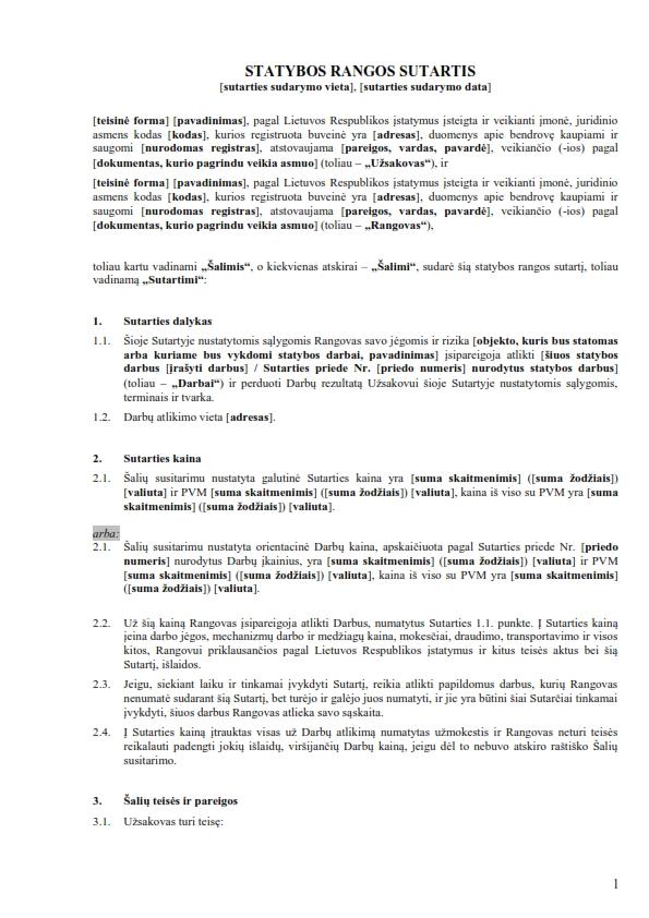 Statybos rangos sutartis