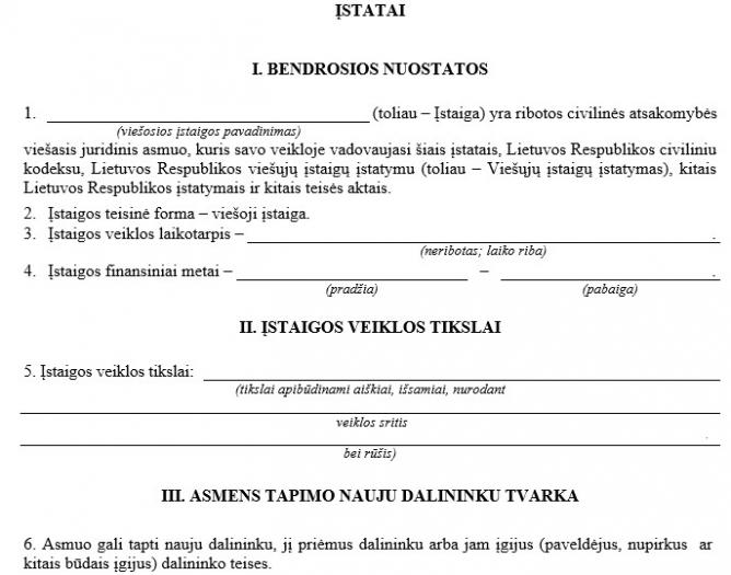 Viešosios įstaigos (VŠĮ) steigimo dokumentai