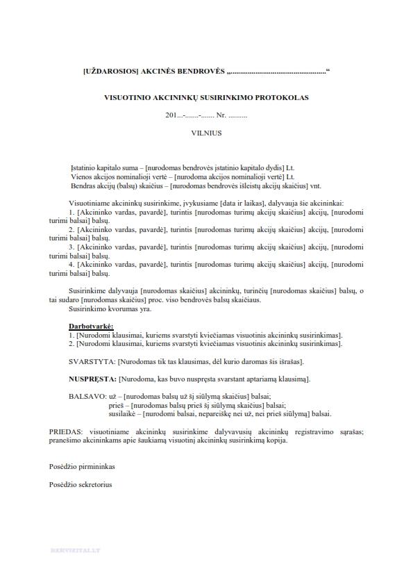 Visuotinio akcininkų susirinkimo protokolas