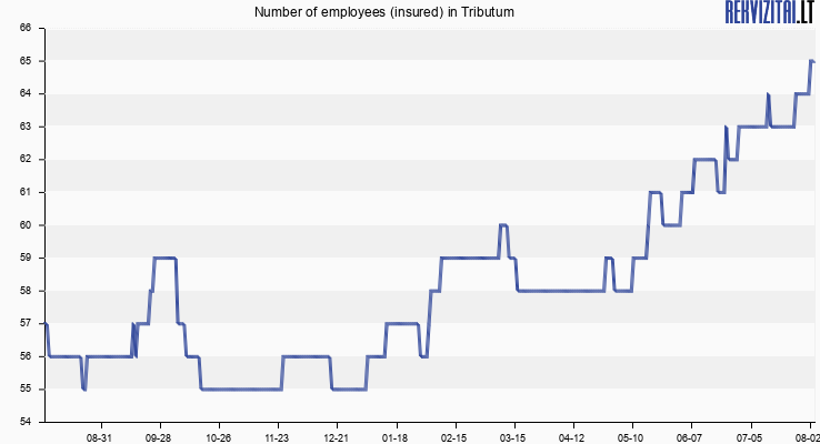 Number of employees (insured) in Tributum