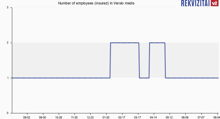 Number of employees (insured) in Verslo medis