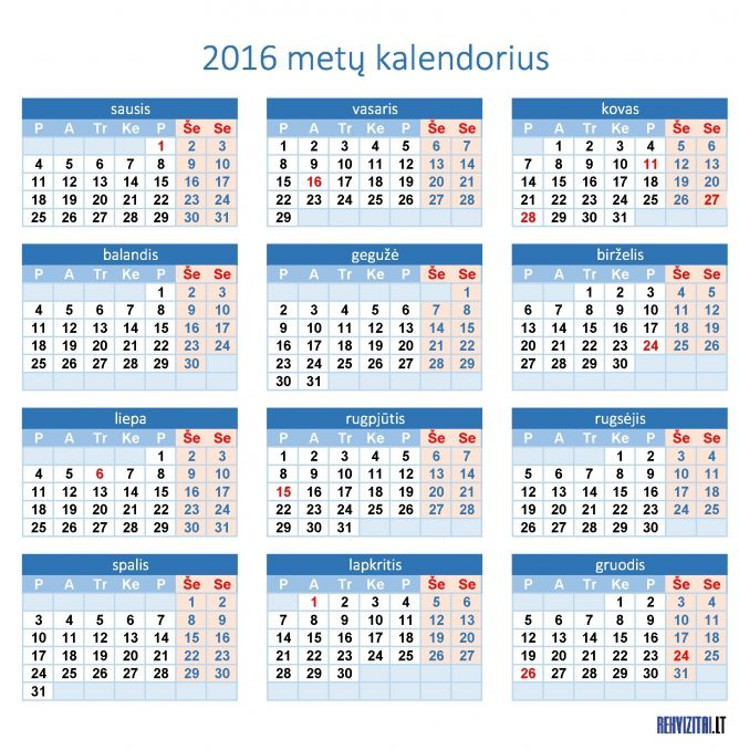 2016 Metai kalendorius