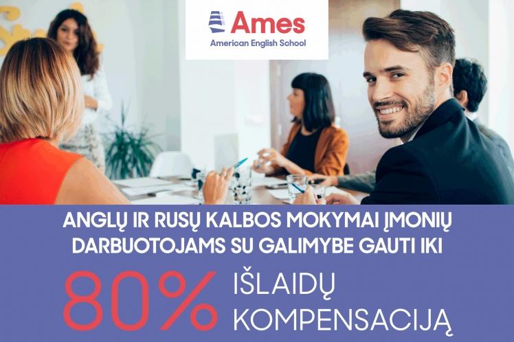 Anglų ir rusų kalbos mokymai įmonių darbuotojams su galimybe gauti iki 80% išlaidų kompensaciją