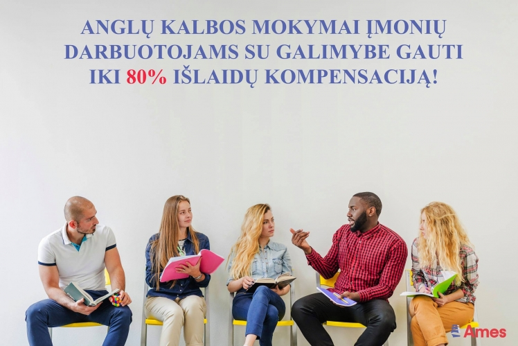 Anglų kalbos mokymai įmonių darbuotojams su galimybe gauti iki 80% išlaidų kompensaciją