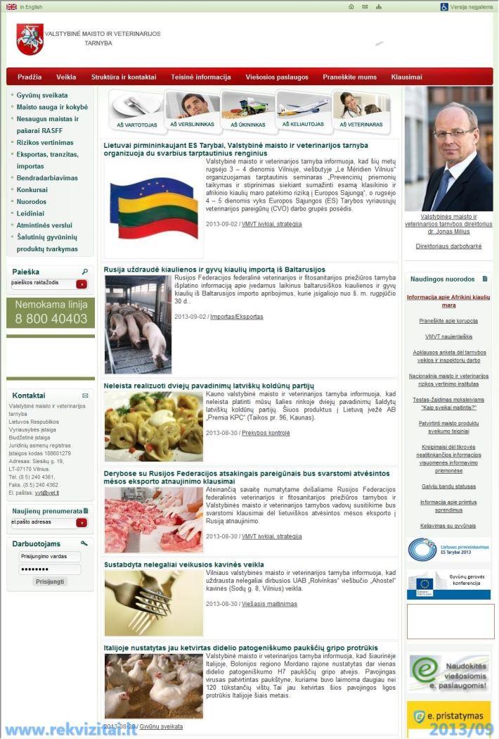 Valstybinė maisto ir veterinarijos tarnyba kontaktai