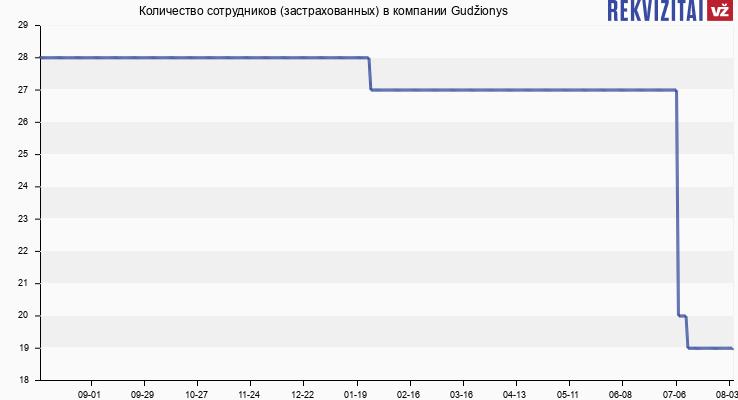 Количество сотрудников (застрахованных) в компании Gudžionys
