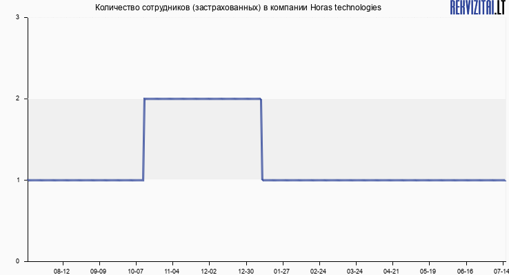 Количество сотрудников (застрахованных) в компании Horas technologies