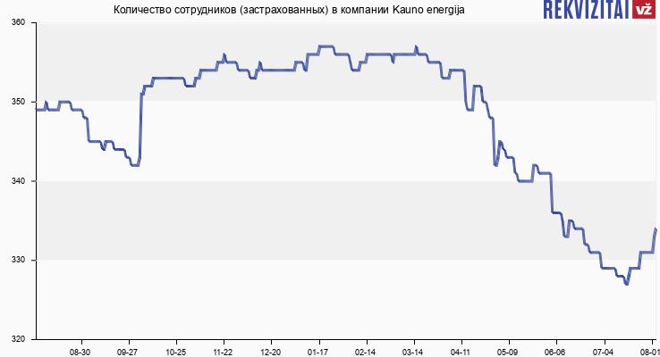 Количество сотрудников (застрахованных) в компании Kauno energija
