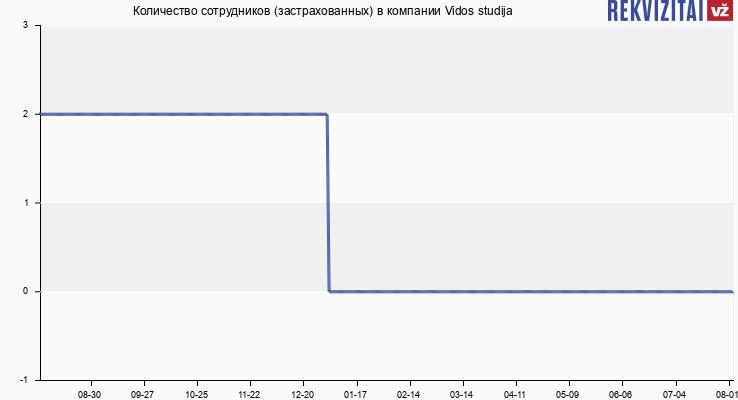 Количество сотрудников (застрахованных) в компании Vidos studija