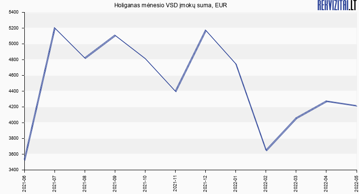 VSD įmokų suma Holiganas