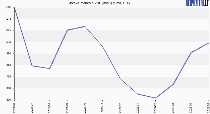 VSD įmokų suma Jorova