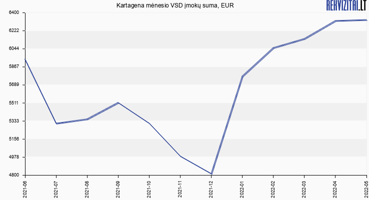 VSD įmokų suma Kartagena