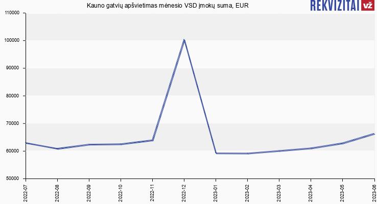 VSD įmokų suma Kauno gatvių apšvietimas