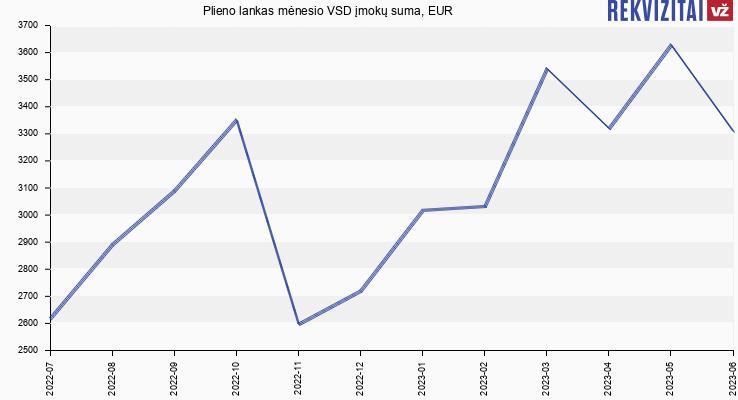 VSD įmokų suma Plieno lankas