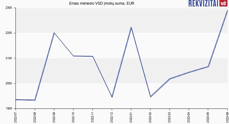 """VSD įmokų suma UAB """"Ernas"""""""